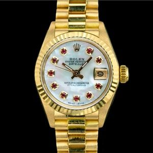 Rolex Datejust 18KY Gold White MOP Ruby Dial Watch